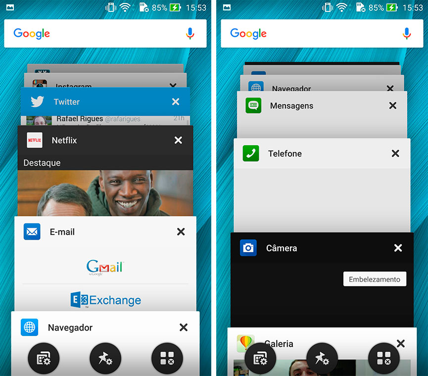 Zenfone Selfie - multitarefa
