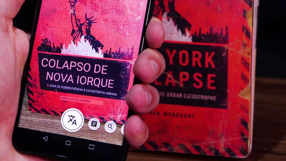 Google Lens traduzindo o texto de uma imagem