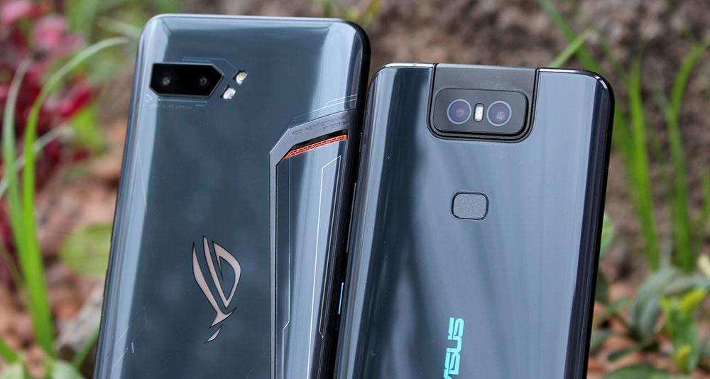 Imagem do ROG Phone 2 ao lado do ZenFone 6