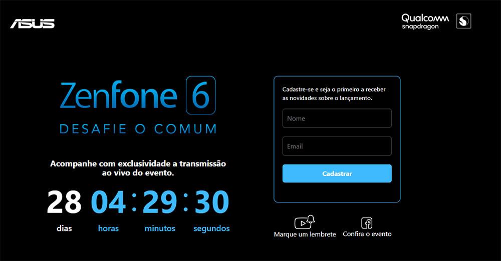 Site de transmissão do evento de lançamento do ZenFone 6 no Brasil