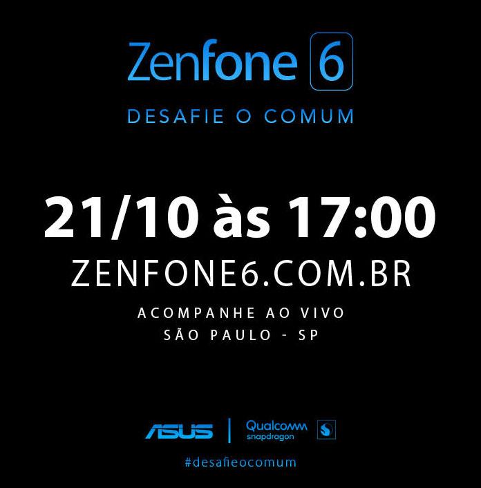 Aviso enviado à imprensa com a data de lançamento do ZenFone 6 no Brasil