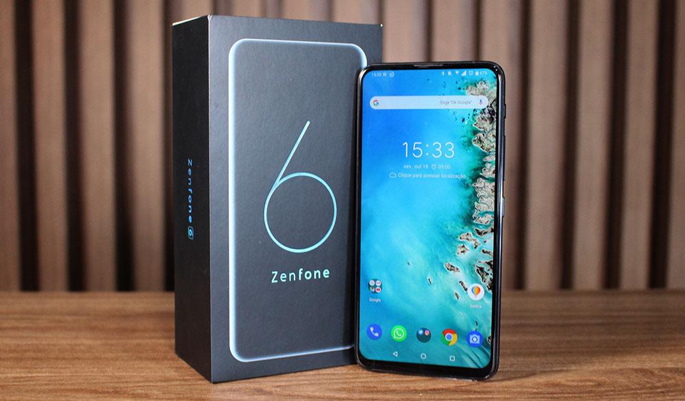 ZenFone 6 ao lado da caixa