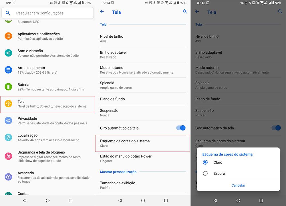 Imagem mostrando os menus de configurações do ZenFone para alterar o esquema de cores da tela