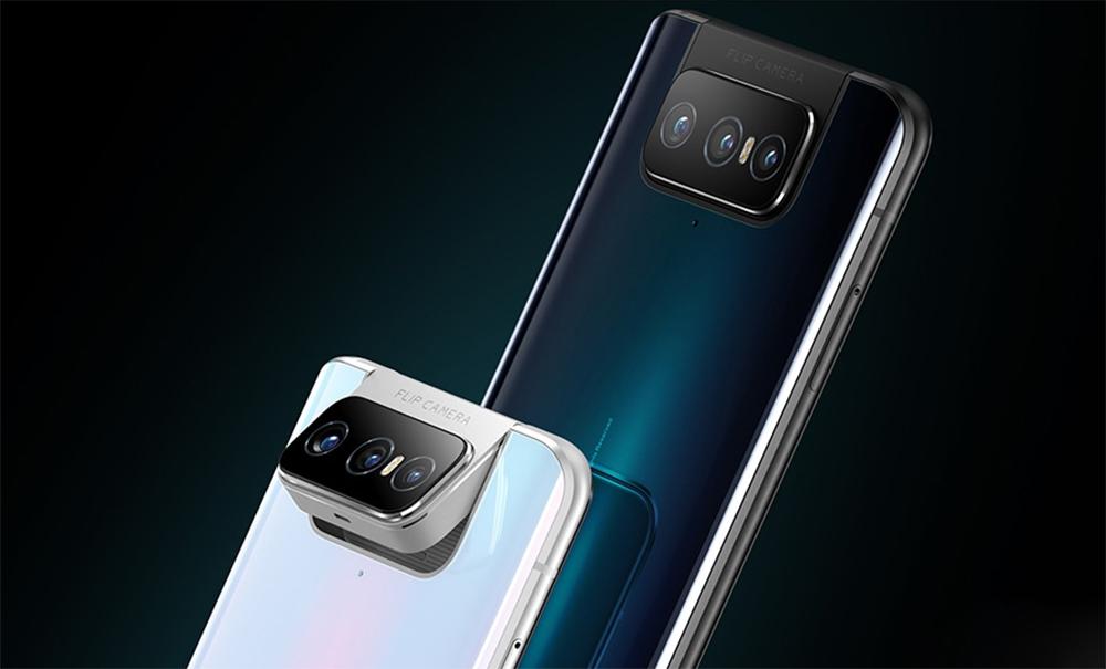 Imagem mostrando a traseira e câmera flip do ASUS ZenFone 7