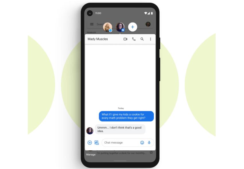 Exemplo de conversas flutuantes Bubbles, uma das novidades do Android 11
