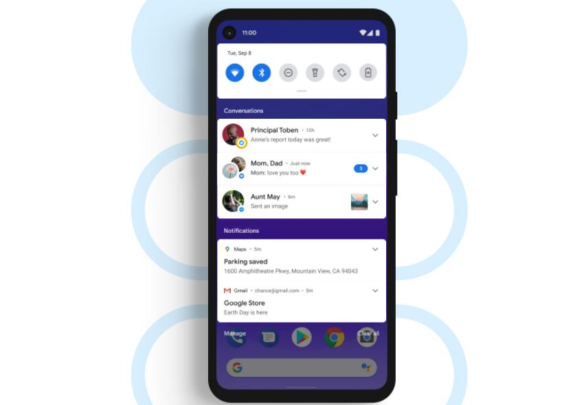 Exemplo de como as notificações de conversas ficam centralizadas, uma das novidades do Android 11