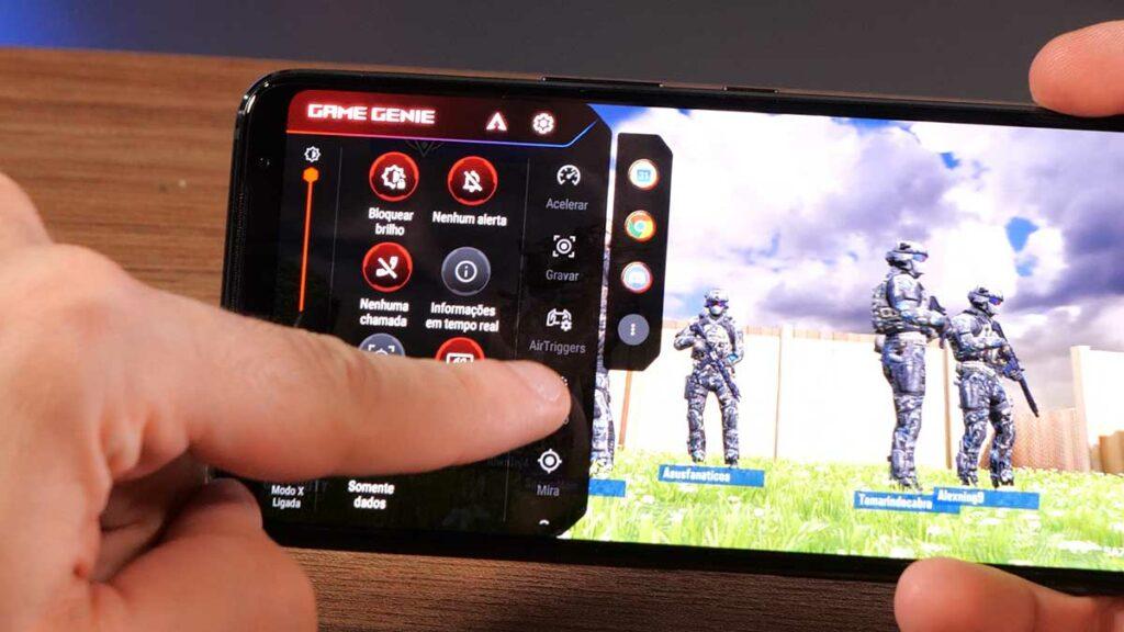 menu de configuração do game genie no ROG Phone 3