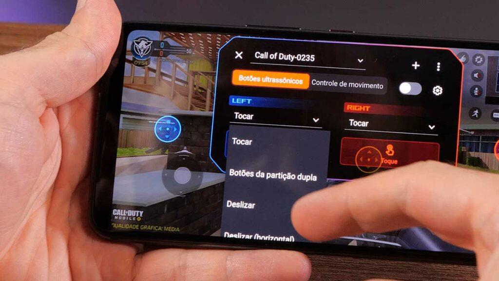 Configuração de toque dos AirTriggers no ROG Phone 3