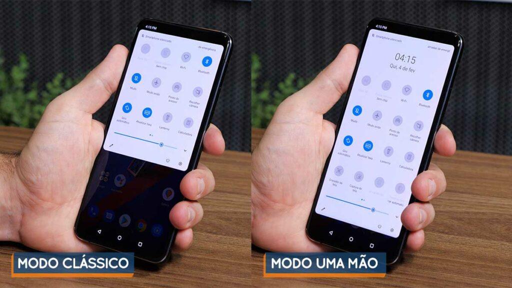 Imagem mostrando, lado a lado, o layout clássico e o layout uma mão do menu de configurações rápidas do ZenFone