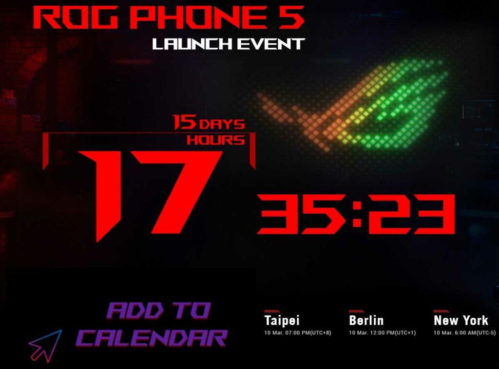 Contagem regressiva para o lançamento do ROG Phone 5.