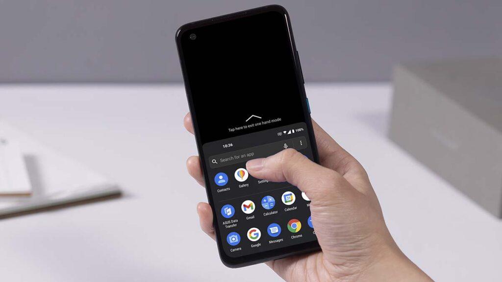 ASUS ZenFone 8: modo uma mão do aparelho