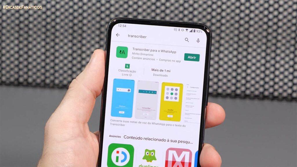 Imagem do transcriber na play store, o app que transcreve áudios do Whatsapp