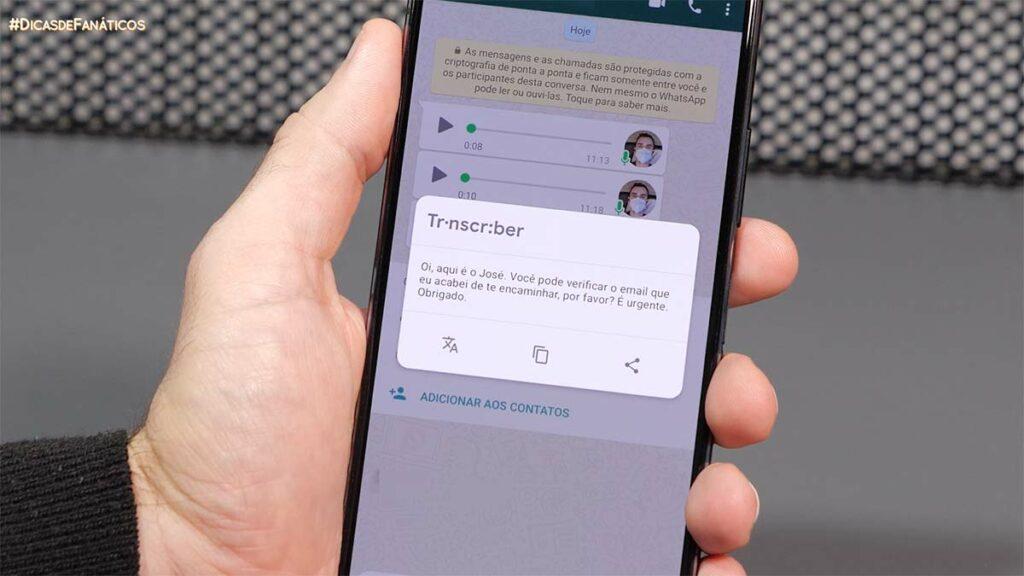 Exemplo de transcrição do transcriber, o app que transcreve áudios do Whatsapp